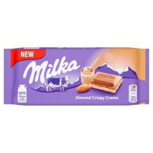 Tablette de chocolat Milka Almond crispy creme 90 Gr